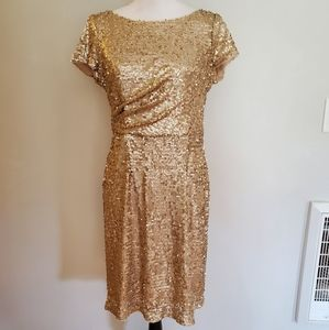 Adrianna Papell Gold Sequin Party Cocktail Dress